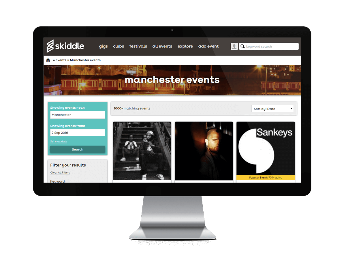 Skiddle event search