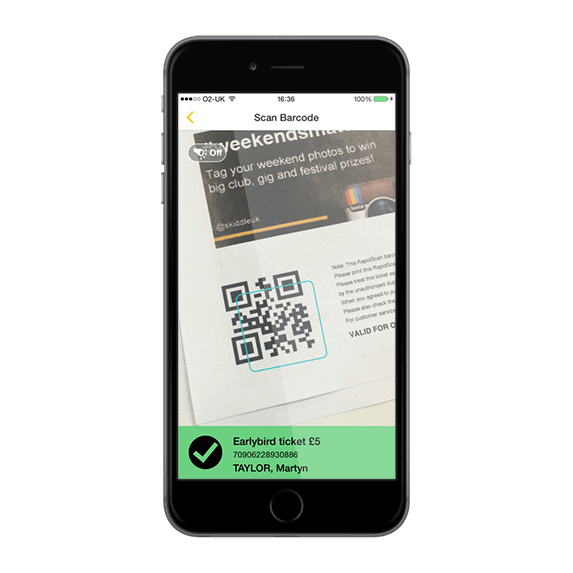 Screenshot of scanned ticket on the Rapidscan app